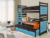 SAMBOR - Solid children Triple Bunk Bed - Colour: Wenge + Blue Acrylic, FAST DELIVERY + ASSEMBLY