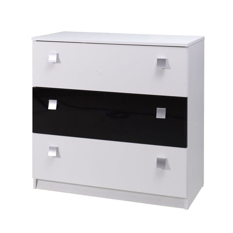 LEAH - Modern 3 Drawer Chest - High Gloss. 2 Colours >92cm<