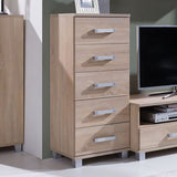 RUSSEL R23 - Narrow 5 Drawer Chest with Classy Design, 4 colours >50cm<
