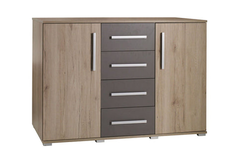 DUNE D3 - Modern Door Chest with 4 Drawers and 2 Doors. 2 Colours >130cm<