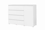 ANGELA A5 - Modern Door Chest with 4 Drawers and 1 Door. 3 Colours >138cm<