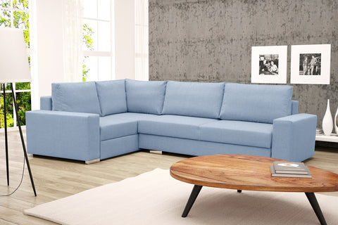 TORRO - Modern Corner Sofa Bed with Storage and Pull Out Bed. Many Various Colours >290x195cm<