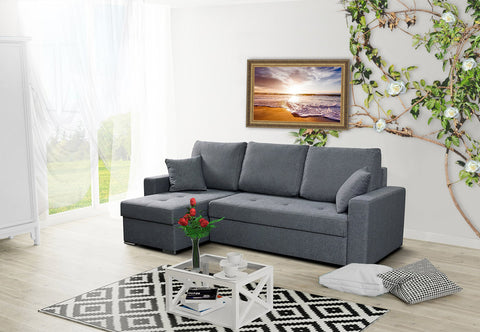 AGNA - Modern Corner Sofa Bed with Storage and Pull Out Bed >236x142cm<