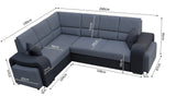 WESLEY - Modern Corner Sofa Bed with 2 Footstools, Storage and Pull Out Bed. Many Various Colours >260x190cm<