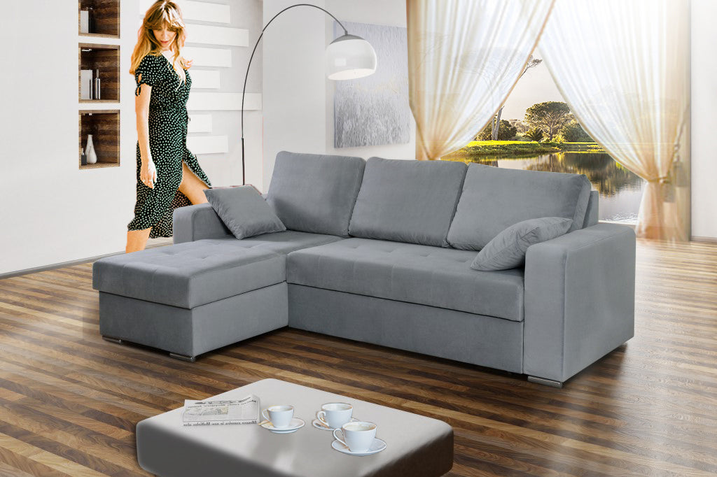 Super Avezzo Modern Corner Sofa Bed With Storages And Pull Out Bed 230X160Cm Interior Design Ideas Gentotryabchikinfo