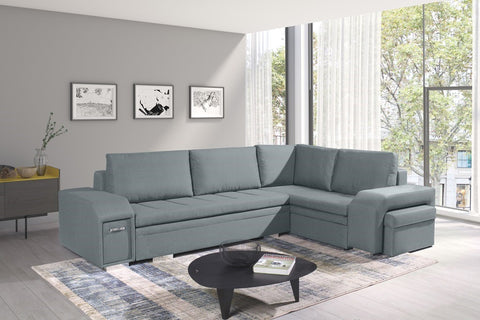 ALAN - Modern Corner Sofa Bed with 2 Storages, Footstool, Drawer and Pull Out Bed. Various Colours >305x205cm<