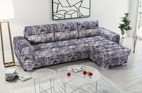 CLARETTE - Modern Corner Sofa Bed with Storage and Pull Out Bed, Easy-Clean Fabric >290x167cm<
