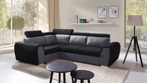 WIZ - Modern Corner Sofa Bed with Storage, Adjustable Headrests and Pull Out Bed. Various Colours >262x191cm<