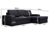 FRANK - Modern Corner Sofa Bed with Storage and Pull Out Bed. Various Colours >285x165cm<