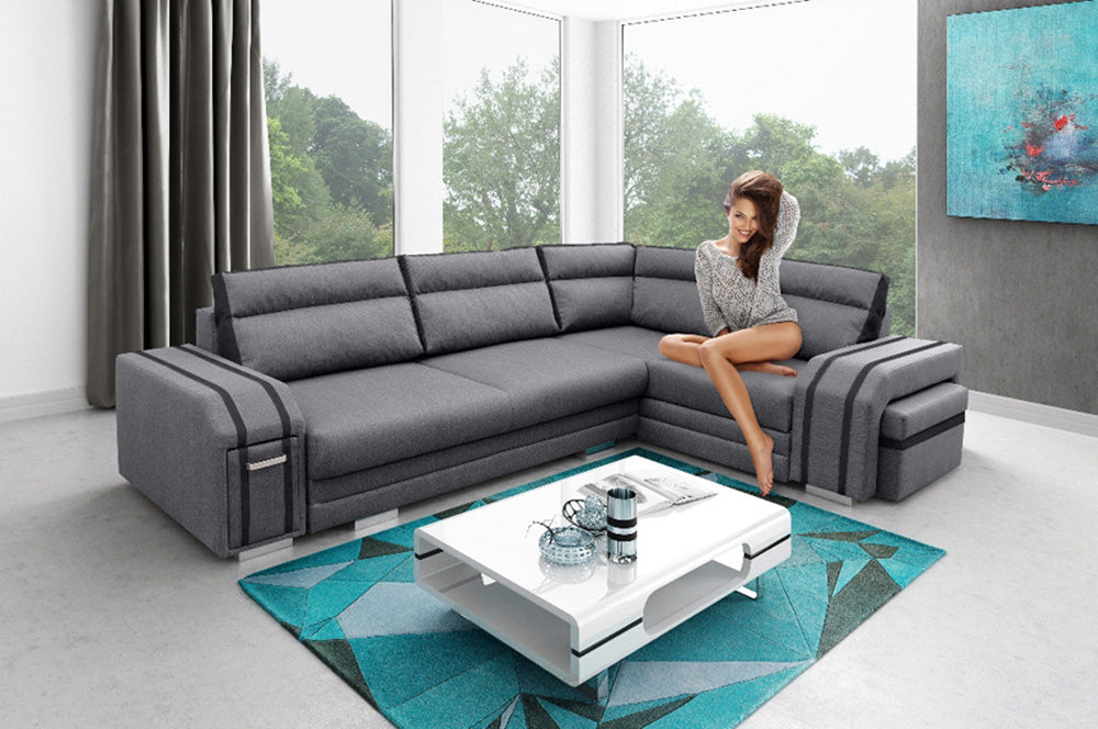 AVATAR - Functional and modern corner sofa bed with FOOTSTOOL, Drawer and  pull out bed