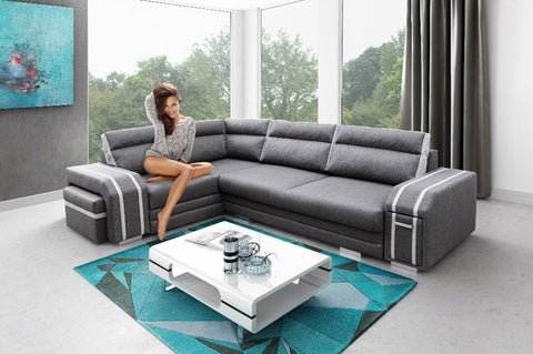 differently 40393 96ac2 AVATAR - Functional and modern corner sofa bed with FOOTSTOOL, Drawer and  pull out bed