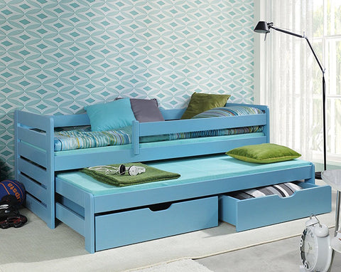 TOM 2 - Single Bed For Children With Trundle Bed And With Big Drawers