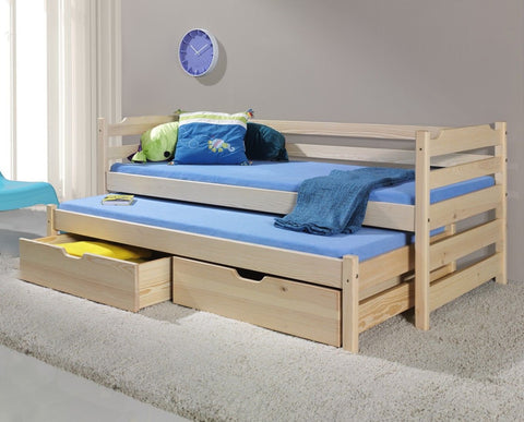 MARTINO - Children Single Bed For Children With Trundle Bed and Big Drawers
