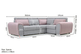 VALERIE - Modern Corner Sofa Bed with Storage, Pull Out Bed and Adjustable Headrests >262x191cm<