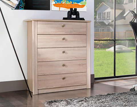WALTZ W5 - Modern 5 Drawer Chest with Natural Look >80cm<