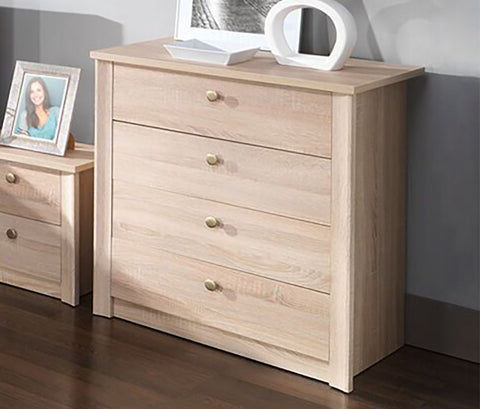 WALTZ W9 - Modern 4 Drawer Chest with Natural Look >80cm<