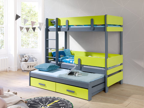ELLA3 - triple bunk bed with trundle bed and a smart solution for your children