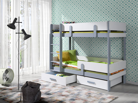ELLA2 - Modern and stylish bunk bed with 2 drawers, many colours available