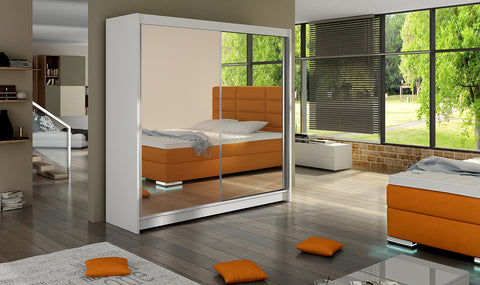 FARINI 6 - 2 sliding door wardrobe with big mirror, rail and shelves >180cm width<