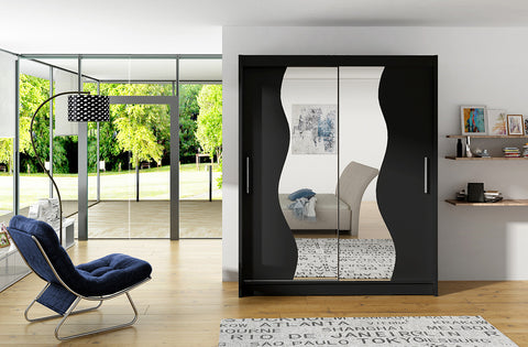 BRAVA S - 2 sliding door wardrobe with wavy mirrors, huge capacity >180cm width<