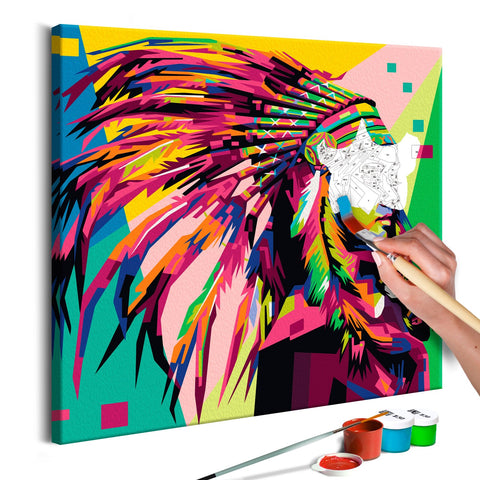 DIY canvas painting - Native American (Plume)