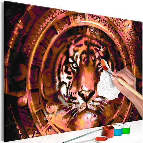 DIY canvas painting - Tiger and Ornaments