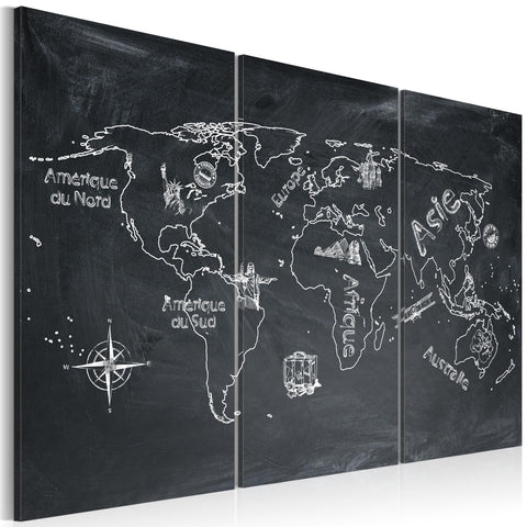 Canvas Print - Geography lesson (French language) - triptych
