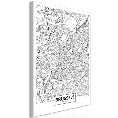 Canvas Print - Map of Brussels (1 Part) Vertical