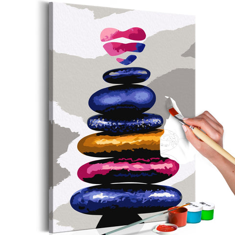 DIY canvas painting - Colored Pebbles