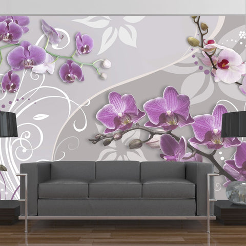 Wallpaper - Flight of purple orchids