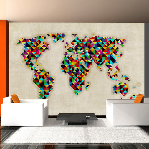 Wallpaper - World Map - a kaleidoscope of colors