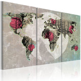Canvas Print - Map of the World: Full moon - triptych