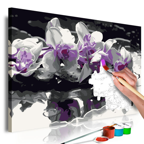 DIY canvas painting - Purple Orchid (Black Background & Reflection In The Water)