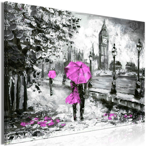 Canvas Print - Walk in London (1 Part) Wide Pink