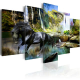 Canvas Print - Black horse on the background of paradise waterfall