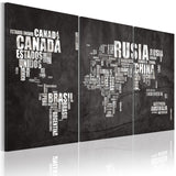 Canvas Print - Map of the World (Spanish language) - triptych