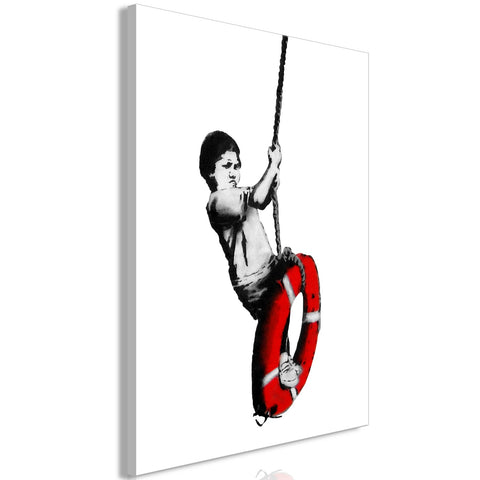 Canvas Print - Banksy: Boy on Rope (1 Part) Vertical
