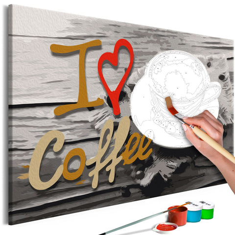 DIY canvas painting - I Love Coffee