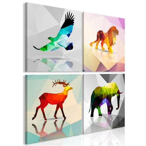 Canvas Print - Colourful Animals (4 Parts)