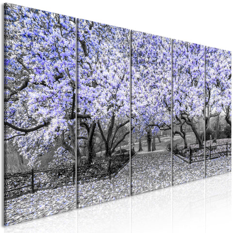 Canvas Print - Magnolia Park (5 Parts) Narrow Violet