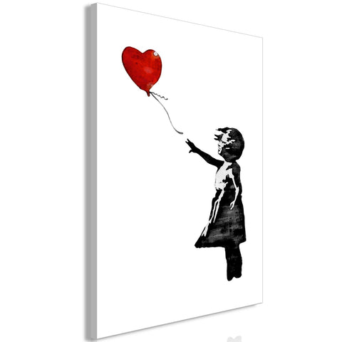Canvas Print - Banksy: Girl with Balloon (1 Part) Vertical