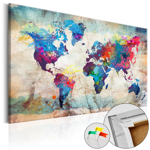 Decorative Pinboard - World Map: Colourful Madness [Cork Map]