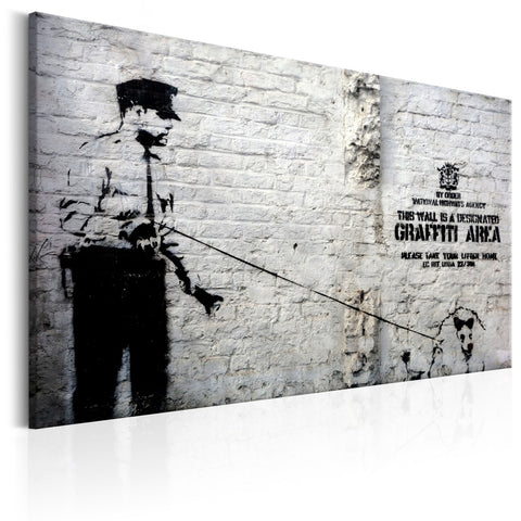 Canvas Print - Graffiti Area (Police and a Dog) by Banksy