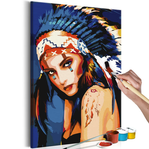 DIY canvas painting - Native American Girl