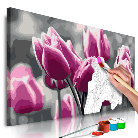 DIY canvas painting - Tulip Field