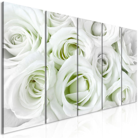 Canvas Print - Satin Rose (5 Parts) Narrow Green
