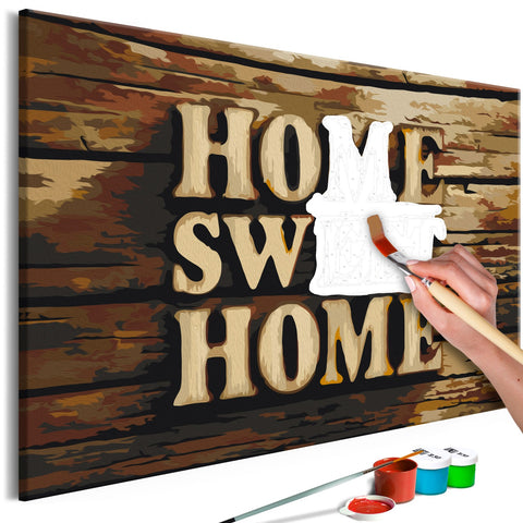 DIY canvas painting - Wooden Home