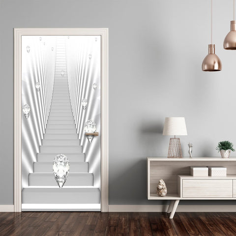 Photo wallpaper on the door - Photo wallpaper - White stairs and jewels I