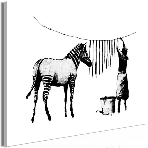 Canvas Print - Banksy: Washing Zebra (1 Part) Wide