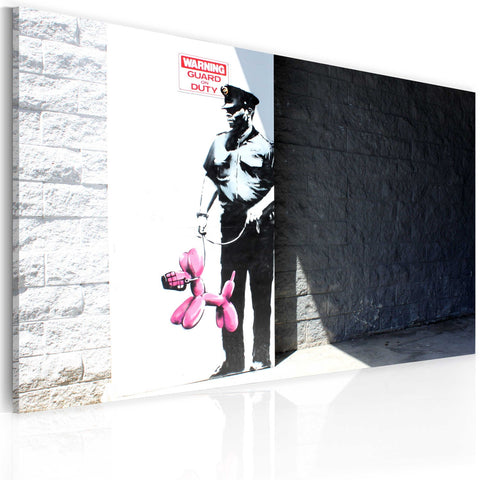 Canvas Print - Police guard and pink balloon dog (Banksy)